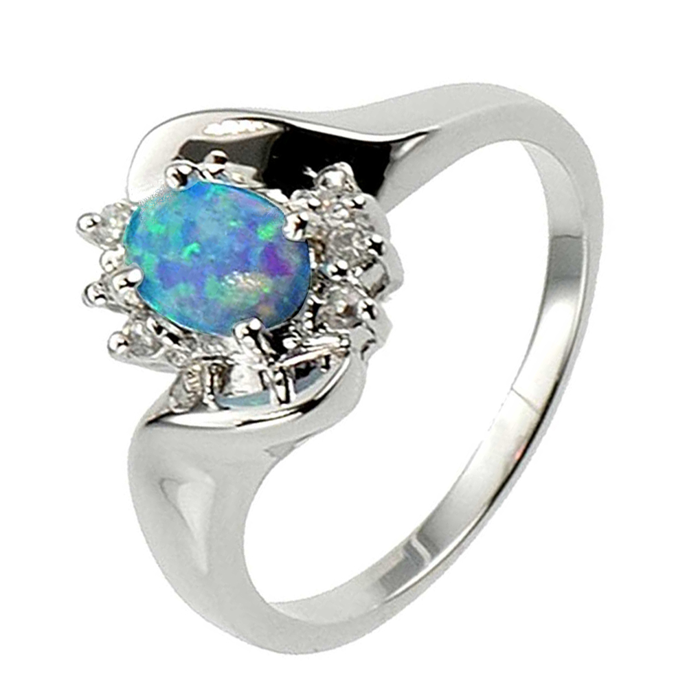Oval Synthetic Blue Opal Sterling Silver Jewelry Women Engagement Wedding Rin
