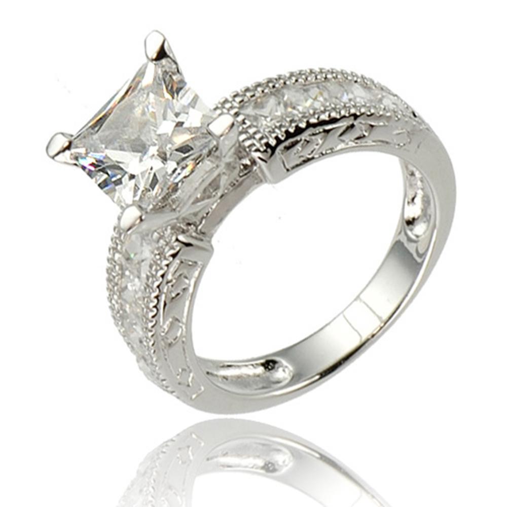 princess cut cz cubic zirconia sterling silver bridal