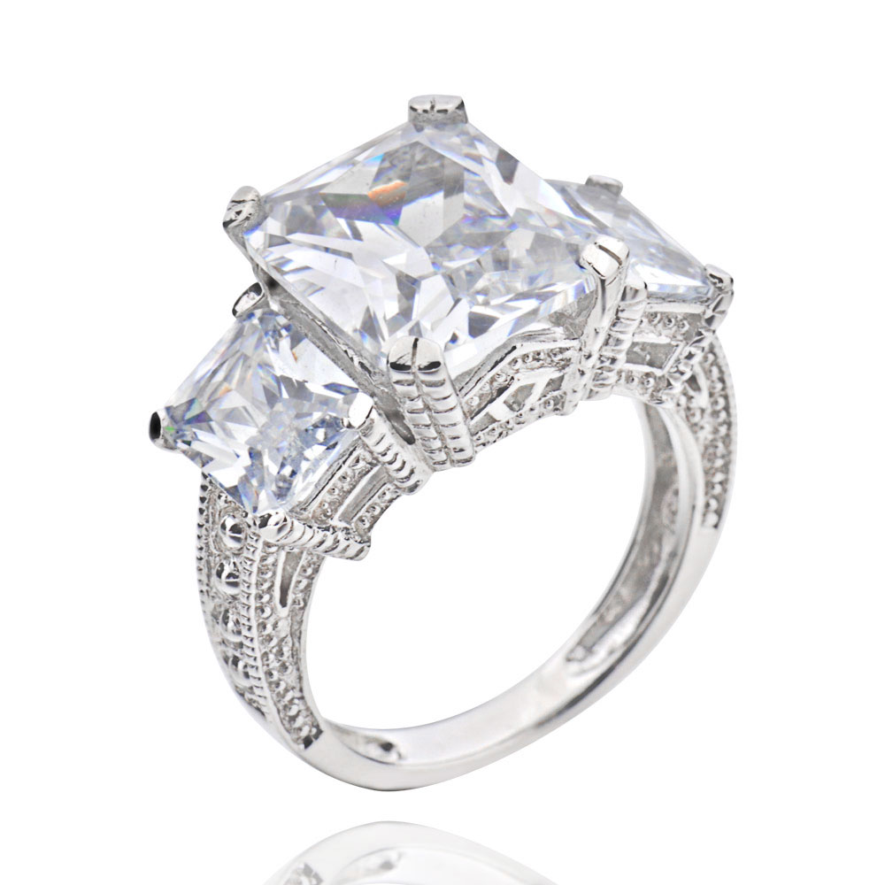 emerald cut cubic zirconia 3 sterling silver wedding