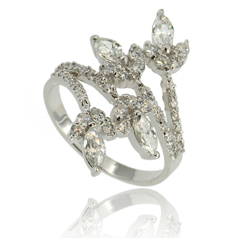 marquise cut cz cubic zirconia sterling silver bridal
