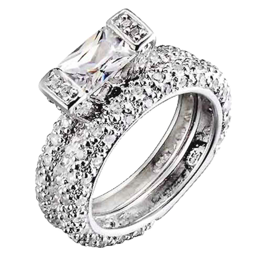 cubic zirconia sterling silver eternity band bridal wedding ring set