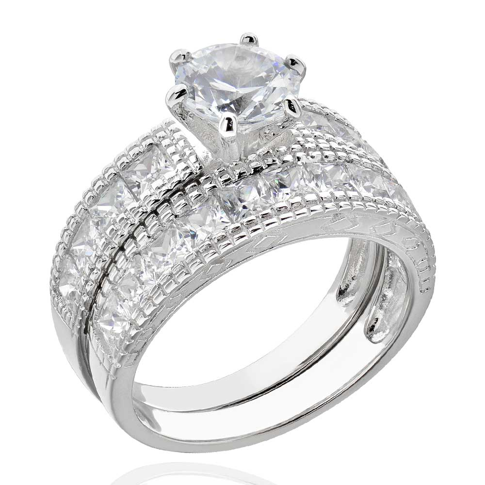 princess cz sterling silver antique wedding