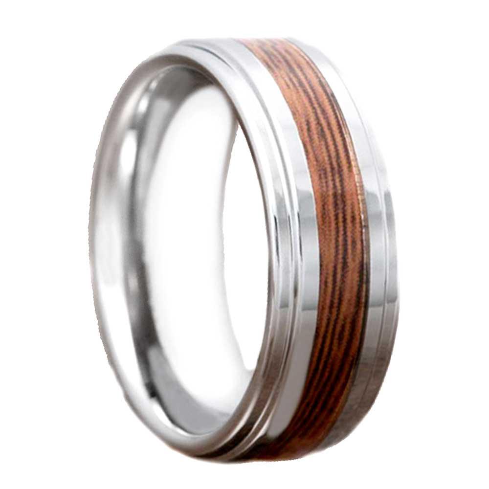 8mm tungsten carbide wood stripe inlay bevel edge band men