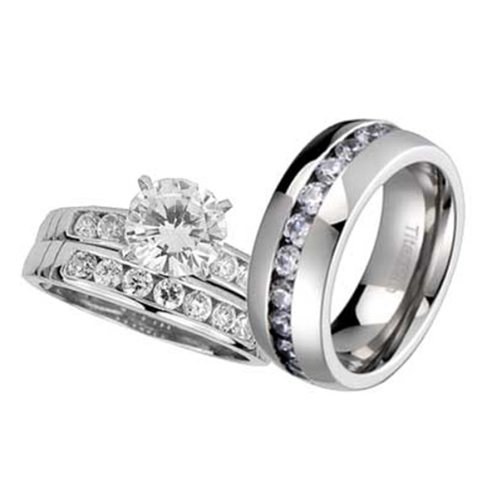 his and hers wedding rings 3 pcs engagement cz sterling With titanium wedding rings his and hers