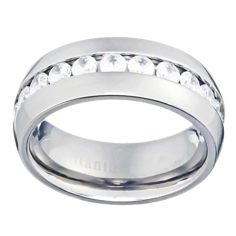 8mm High Polish Dome Top Titanium Band Round Cubic Zirconia Mens Wedding Ring
