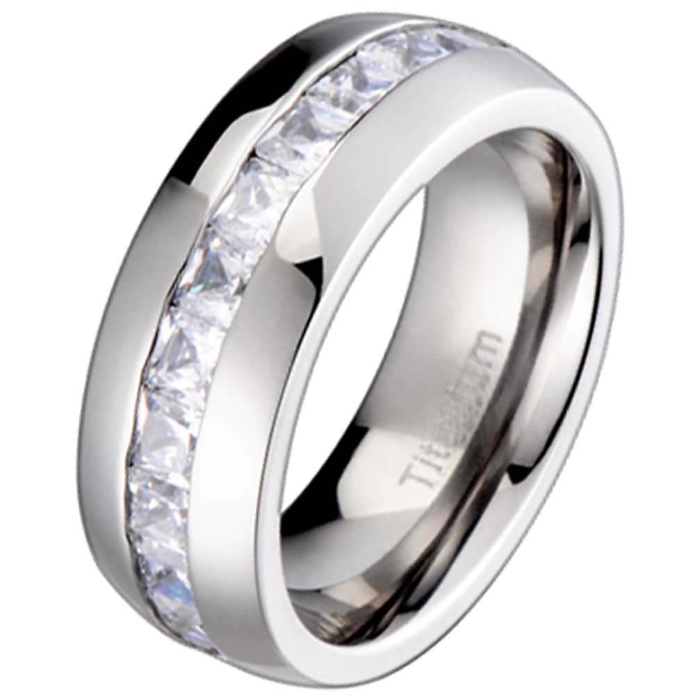 New Titanium Princess Cubic Zirconia Mens Wedding Ring