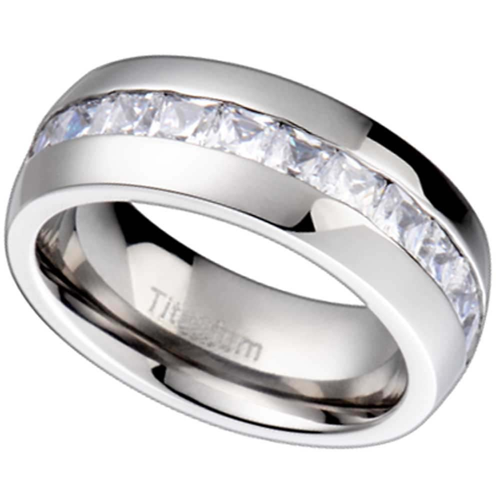 Titanium Princess Cubic Zirconia White Gold Color Men 39 S Wedding Ring EBay