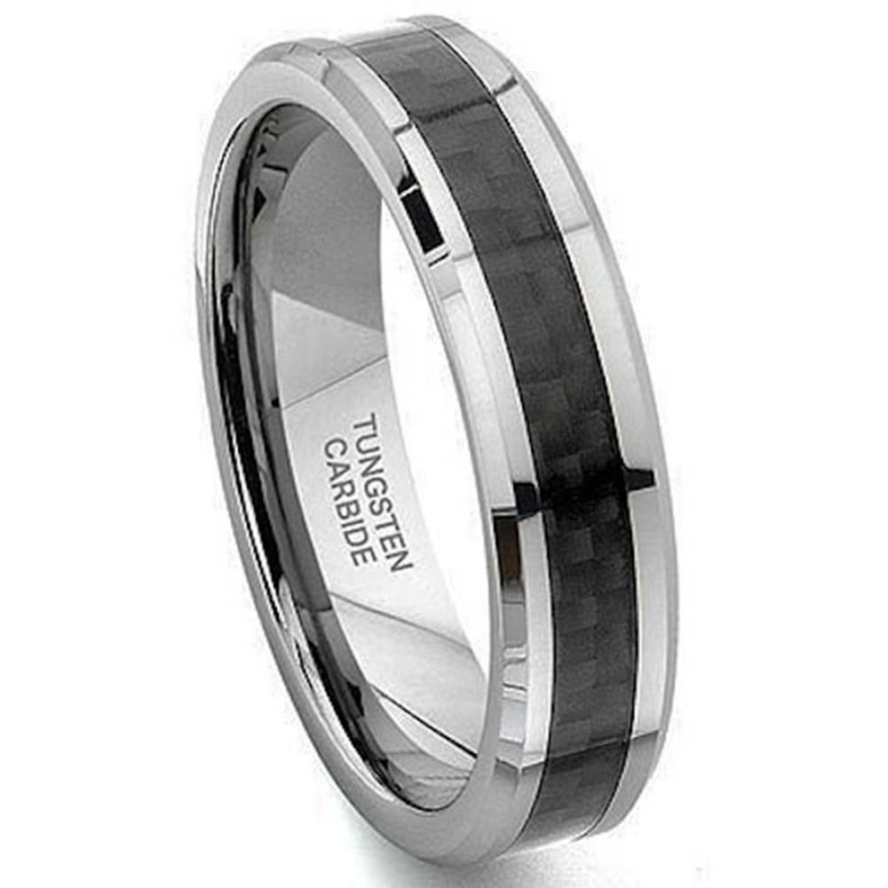 6mm Tungsten Carbide Black Carbon Fiber Women39;s Wedding Band Ring