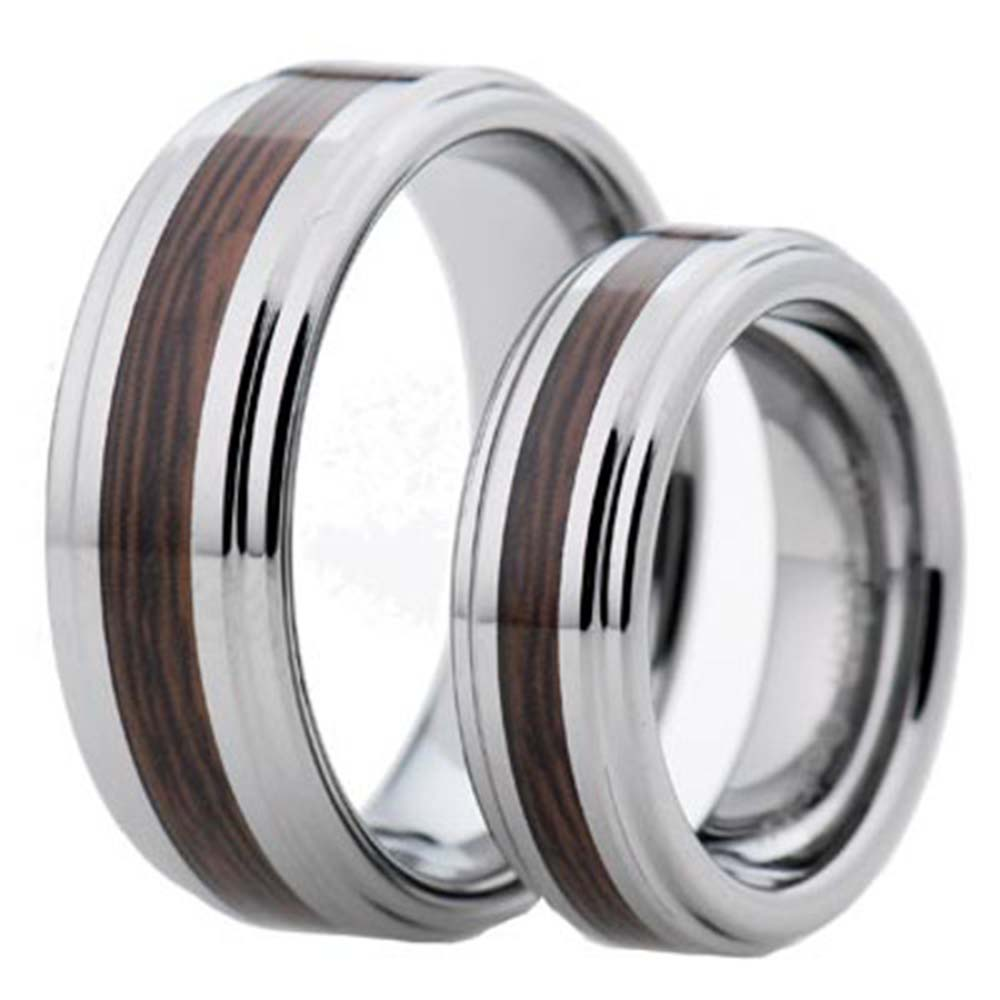 Tungsten Wedding Band Sets on Tungsten Carbide Wood Inlay Shinny Step Edges 2 Pcs Wedding Band Set