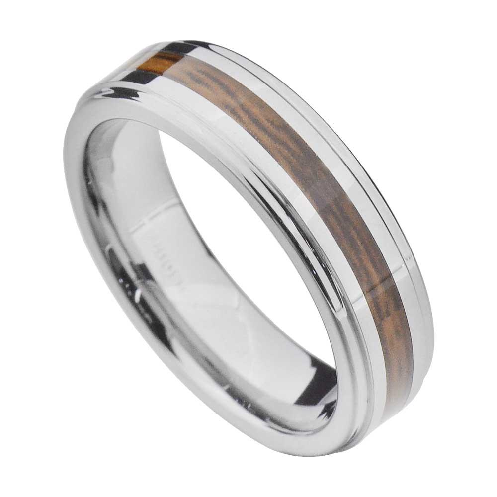 wood inlay tungsten band duo step edge women - Tungsten Mens Wedding Ring