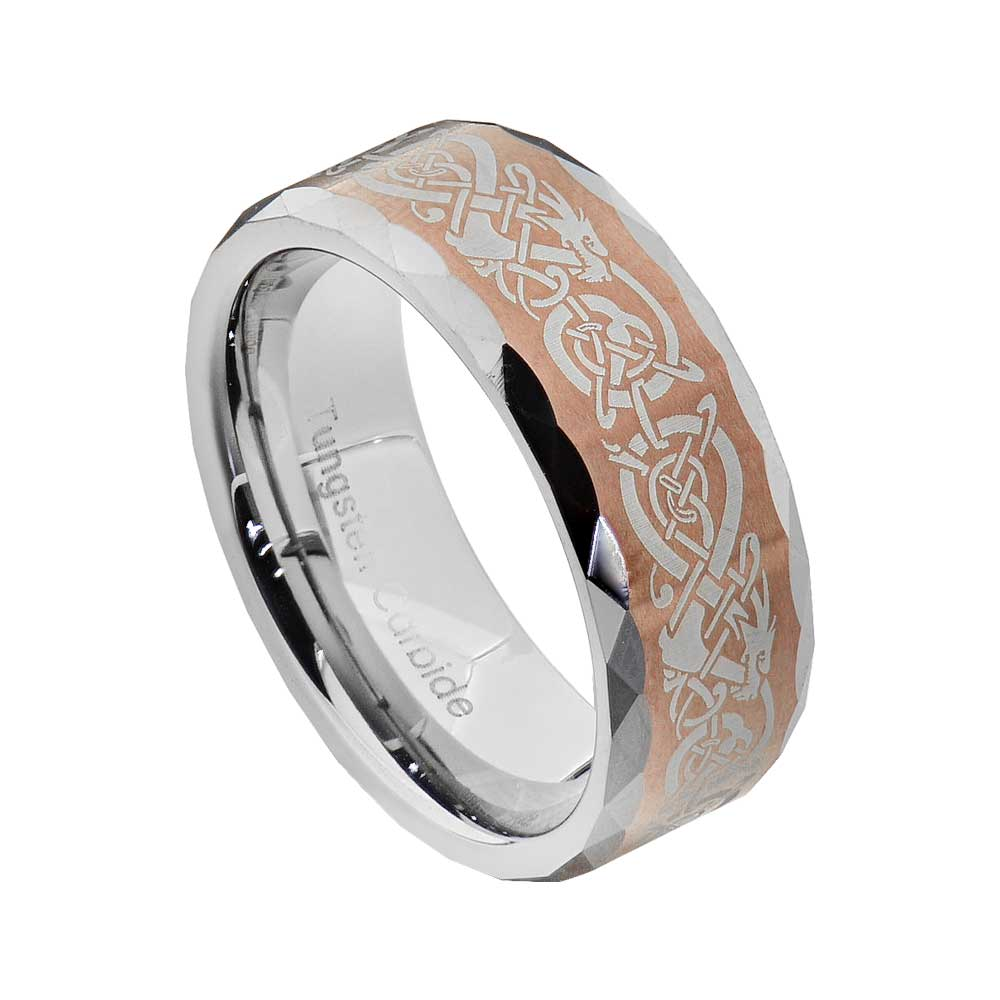 Tungsten Dragon Celtic Scroll Inlay Ring Mens Wedding Band