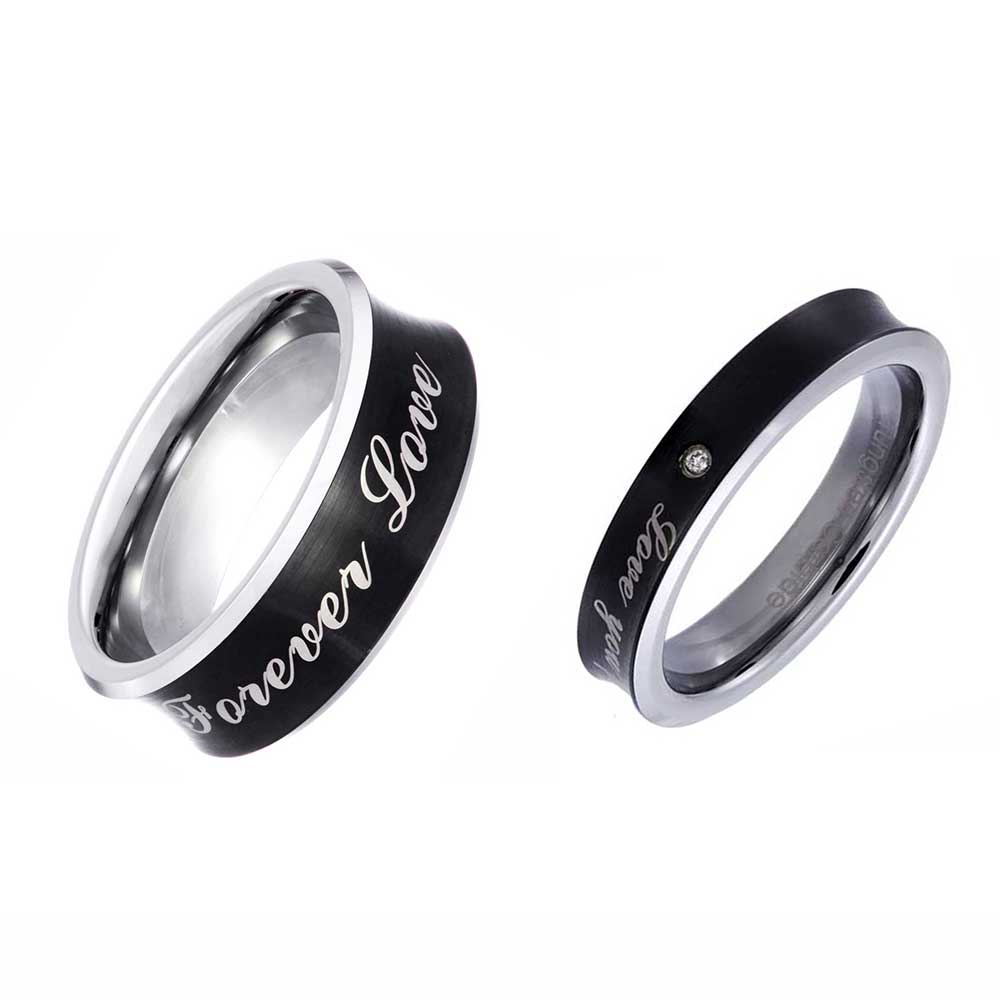 He she black tungsten carbide si1 si2 diamond love you for Tungsten carbide wedding ring sets