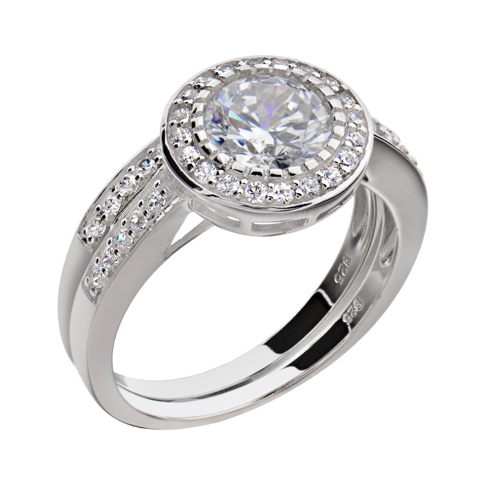 round cubic zirconia sterling silver crown engagement wedding ring set