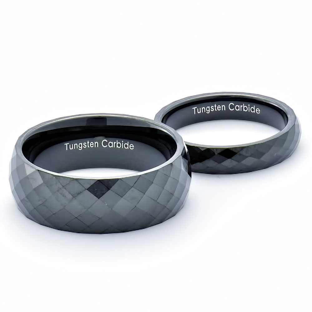 Tungsten Black Band Dome Diamond Faceted High Polish His Hers Wedding Ring