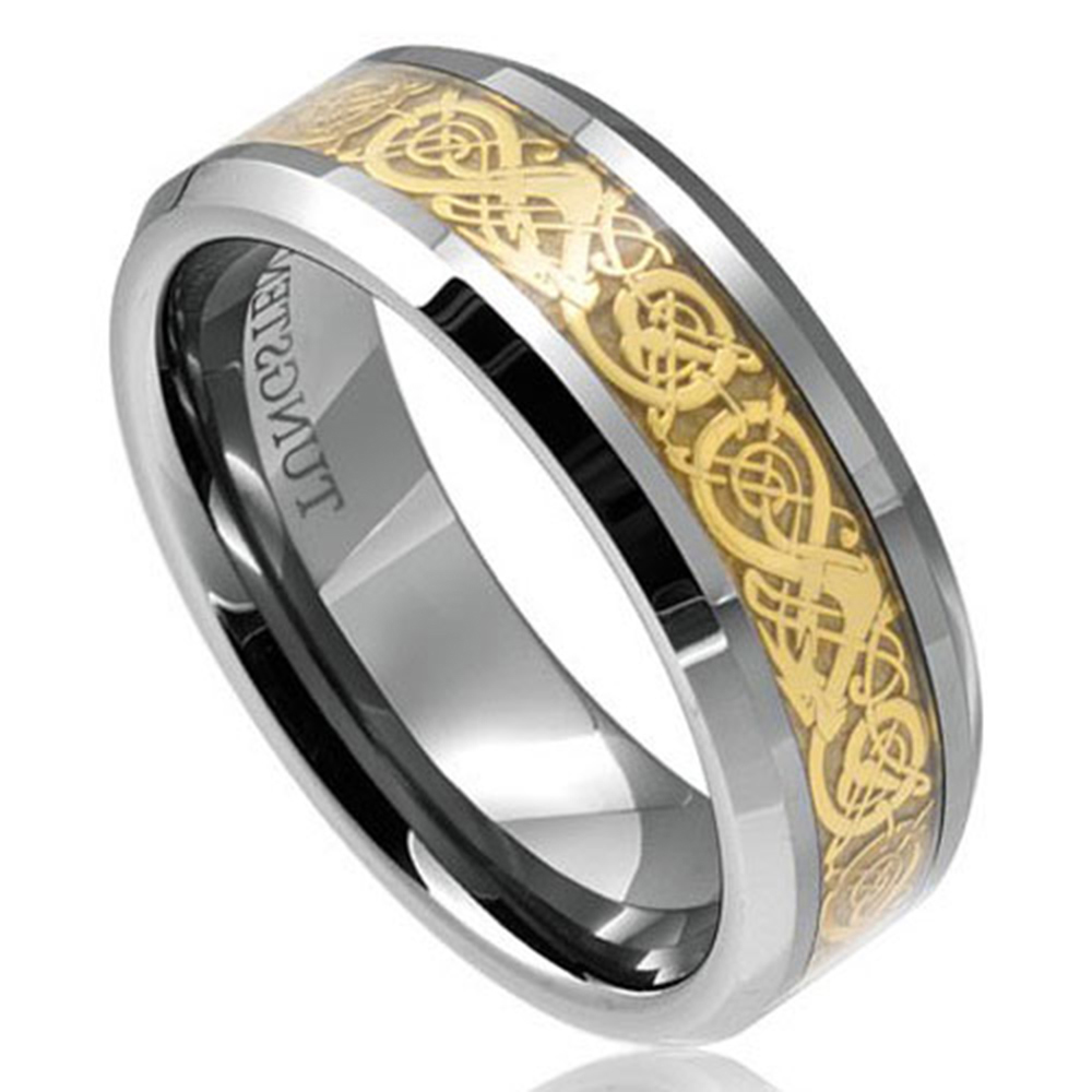 Tungsten dragon celtic scroll inlay ring men39s wedding for Tungsten celtic wedding ring