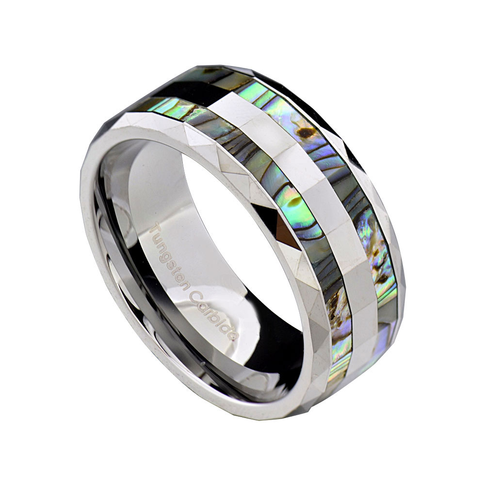 8mm Abalone Shell Inlay Faceted Shiny Top Tungsten Mens Wedding Band