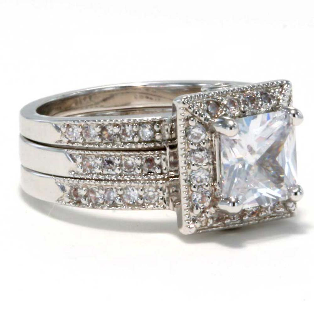 1 75 ct princess cut cubic zirconia estate style