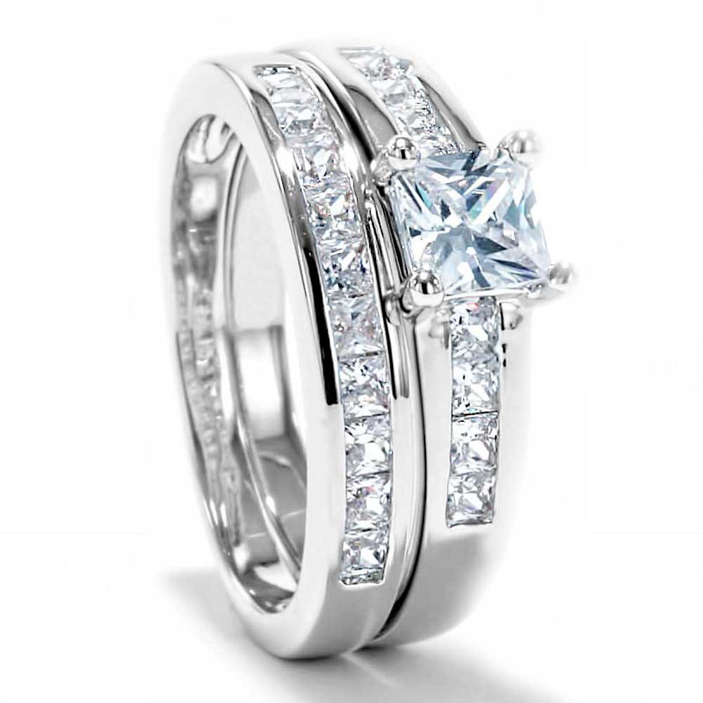princess cut cubic zirconia platinum ep bridal engagement