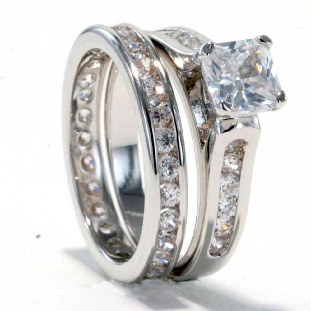 Rhodium Plated Princess CZ Cubic Zirconia Eternity Band Bridal Wedding Ring S