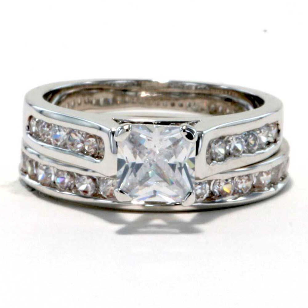 Eternity Ring Wedding Set: Rhodium Plated Princess CZ Cubic Zirconia Eternity Band