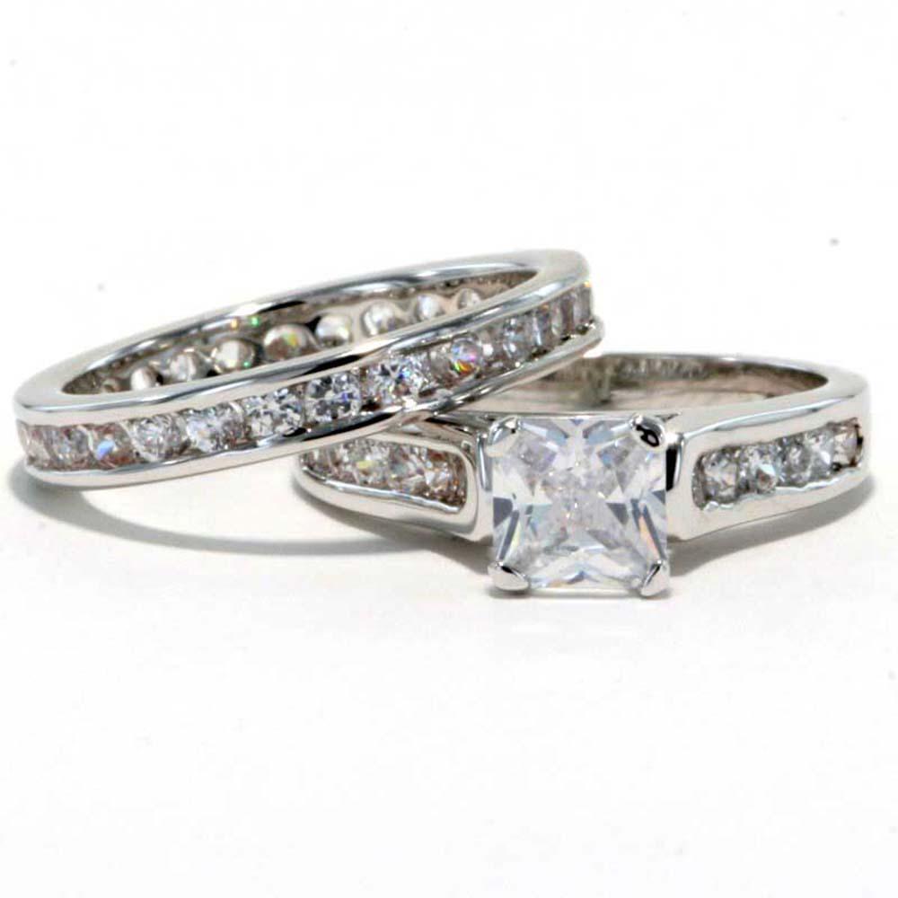 Rhodium Plated Princess CZ Cubic Zirconia Eternity Band Bridal Wedding Ring Set