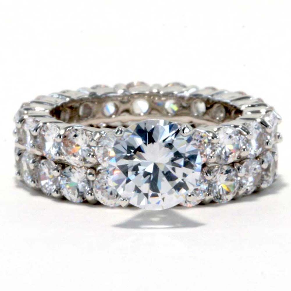 Eternity Ring Wedding Set: 2.3 Carat Round Cubic Zirconia Platinum EP Bridal Eternity