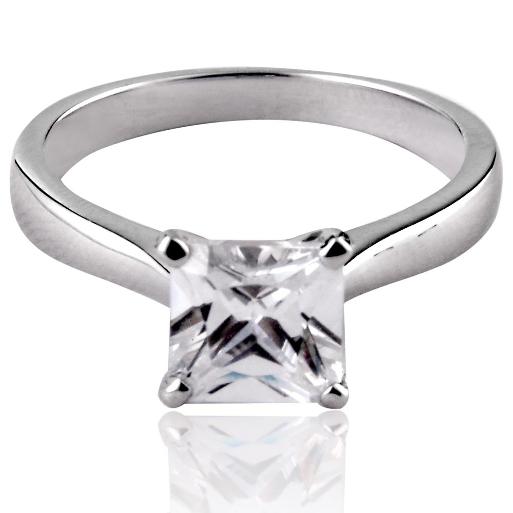 ... 7x7mm princess cut cubic zirconia solitaire engagement wedding ring