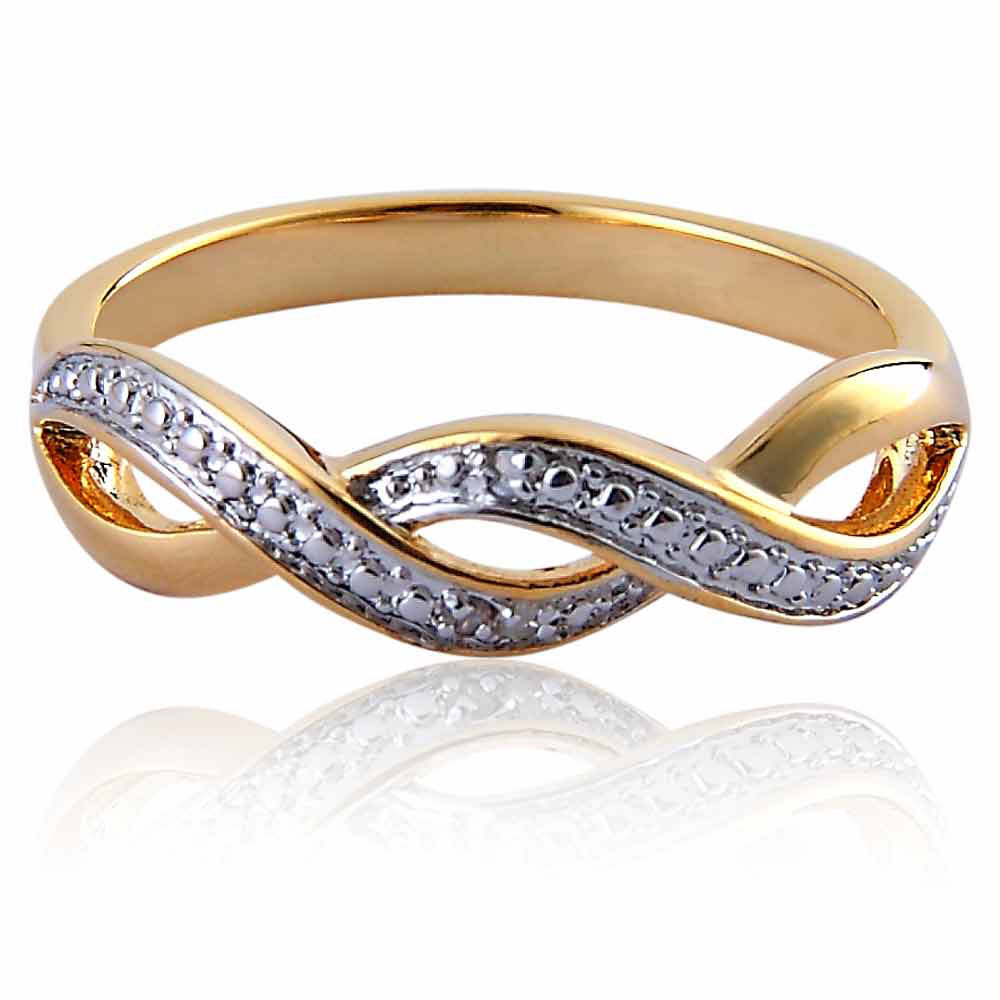 FlameReflection Gold Plated Brass Diamond Accent Infinite Symbol Engagement Wedding Ring