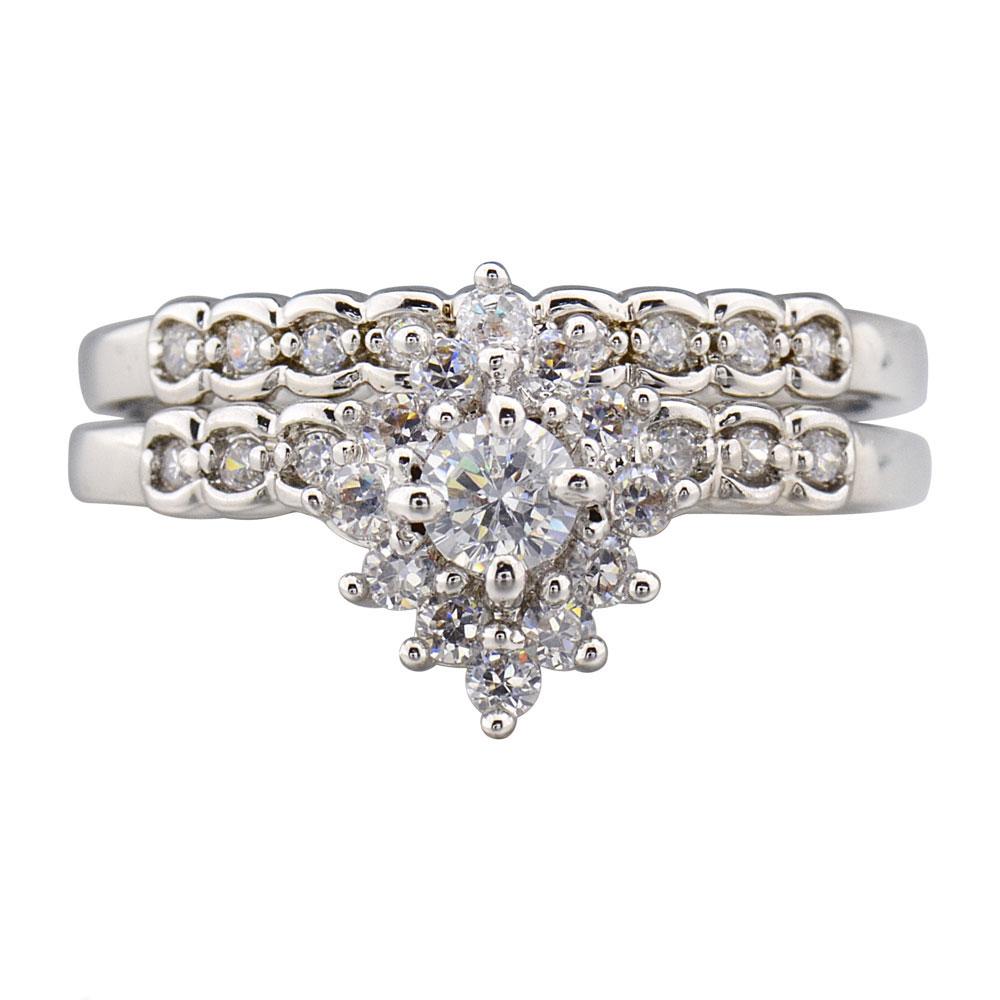 Cluster Round Cubic Zirconia Rhodium EP Bridal Engagement Wedding Ring Set