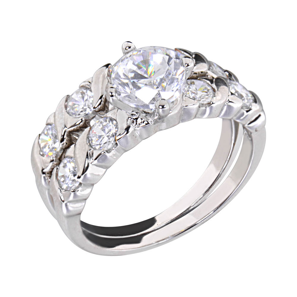 Carats Round Cubic Zirconia Rhodium EP Bridal Engagement Wedding Ring Se