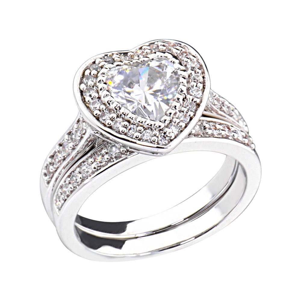 2 ct heart cubic zirconia rhodium ep bridal engagement With rhodium wedding ring sets