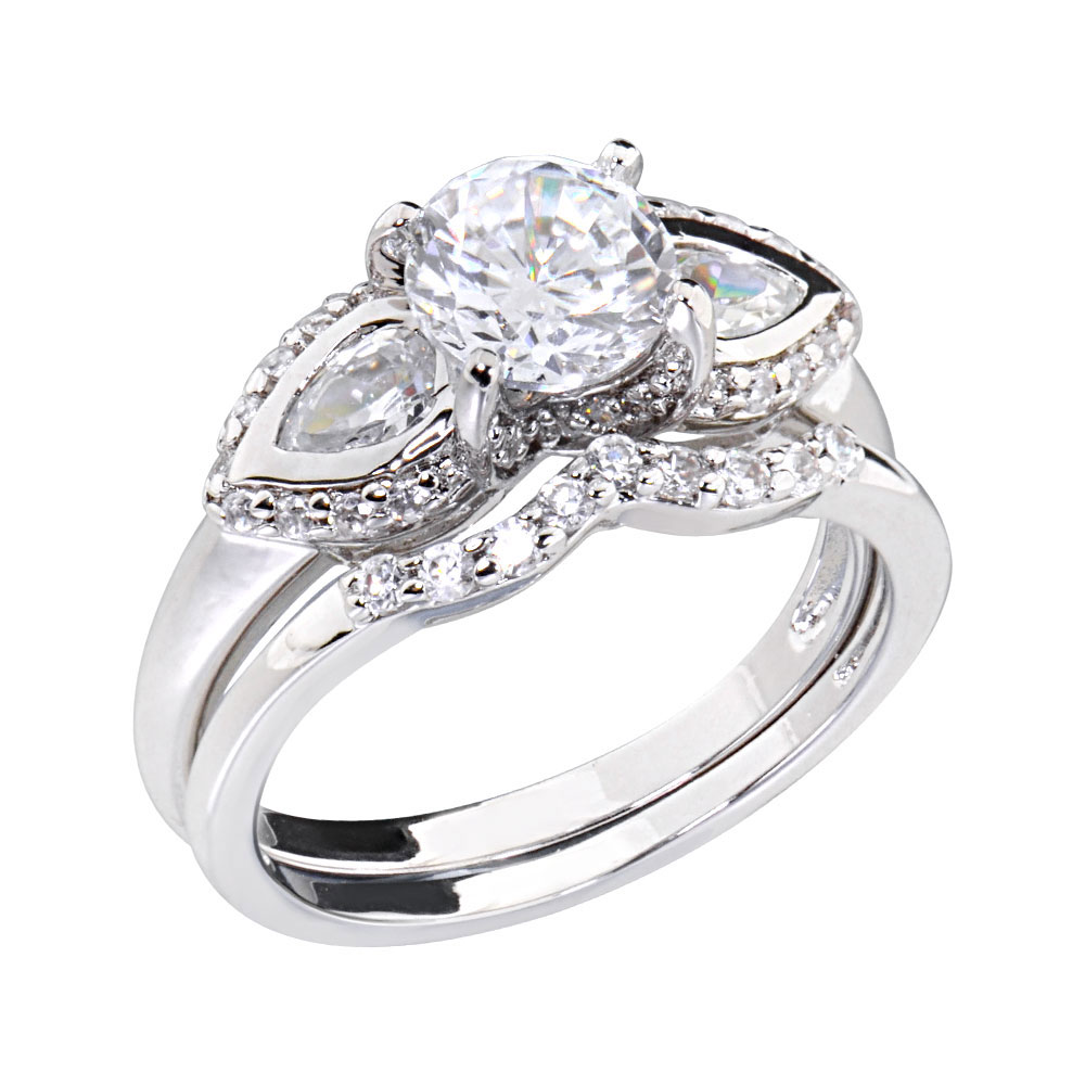 cubic zirconia platinum tone three engagement