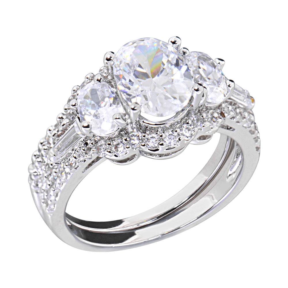 2 Carats Oval Cubic Zirconia Rhodium EP Bridal Engagement Wedding Ring Set