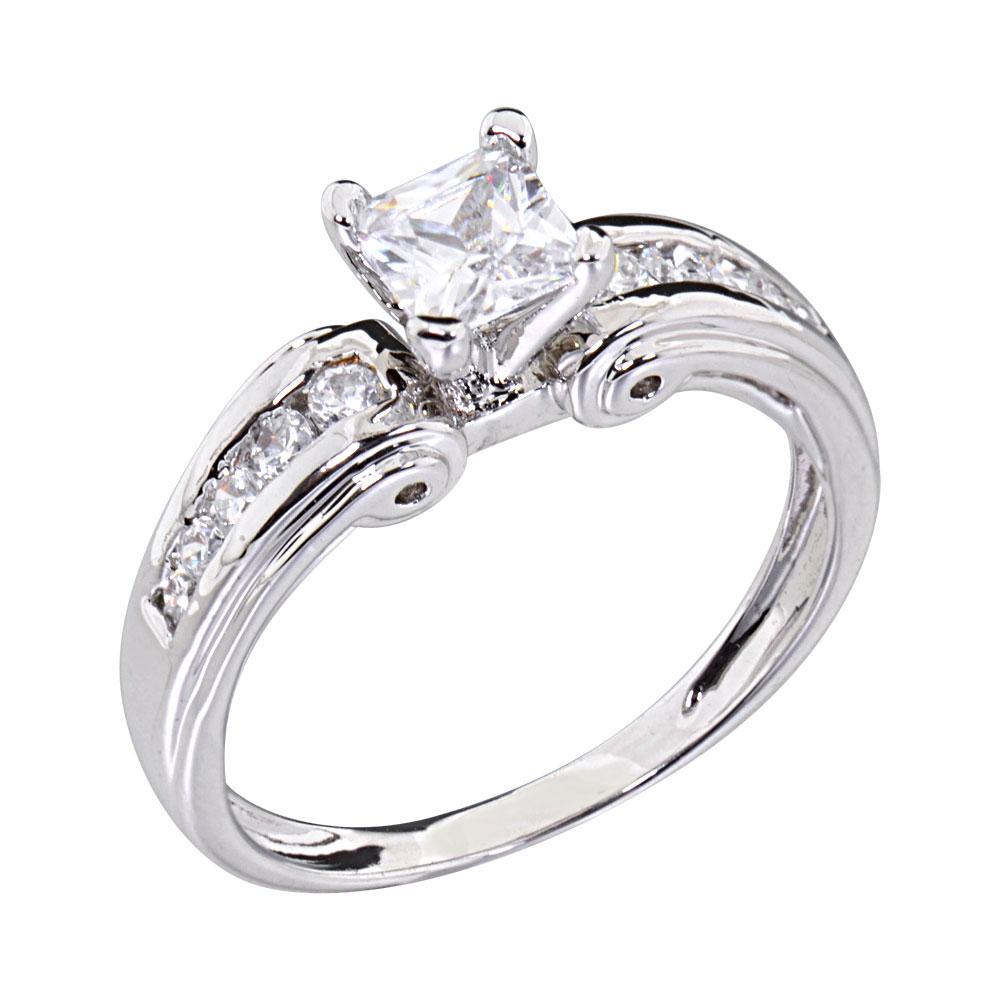 0 75 Carats Princess Cubic Zirconia Platinum EP Brass Engagement Wedding Ring