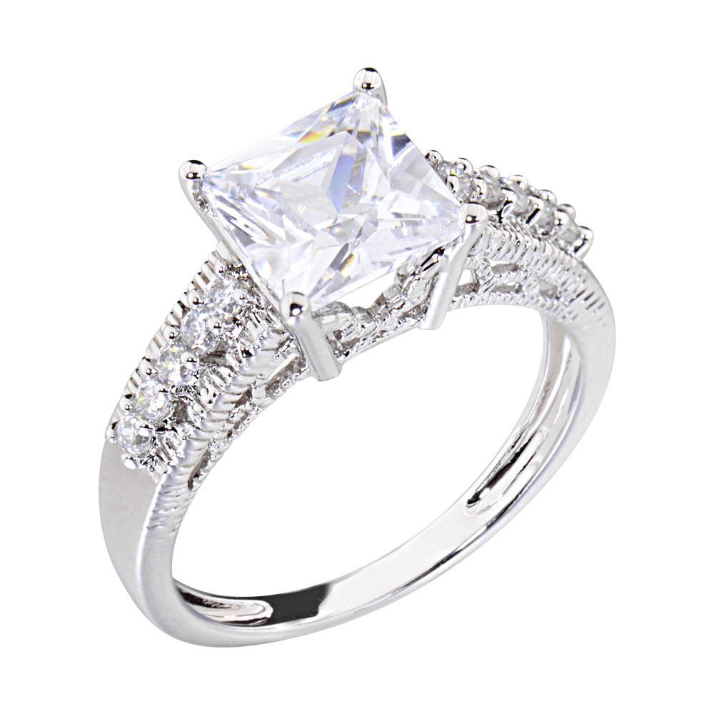 2 5 carats princess cubic zirconia platinum tone