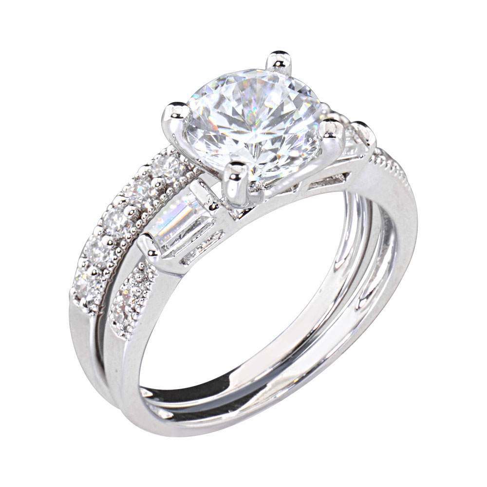 2 CT Round Cubic Zirconia Rhodium EP Bridal Engagement Wedding Ring Set EBay