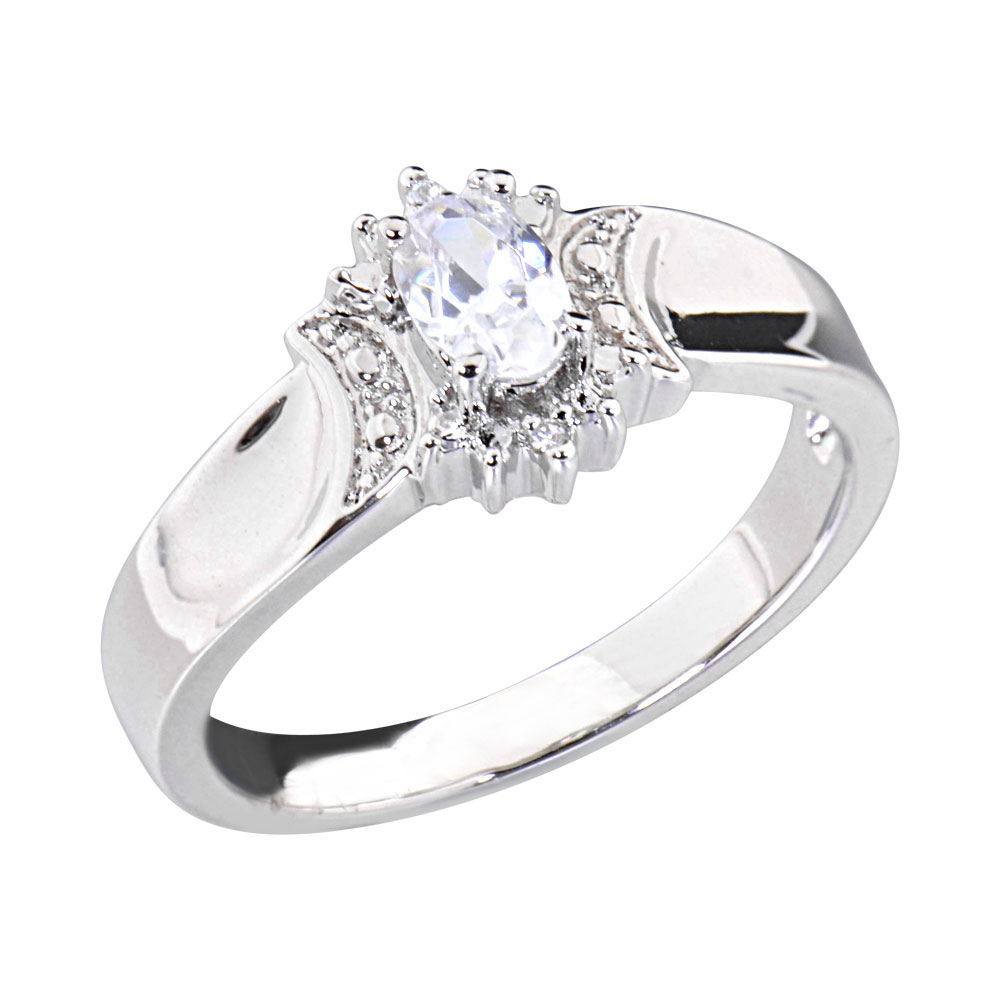 05 Carats Oval Shape Cubic Zirconia Platinum Tone Engagement Wedding Ring