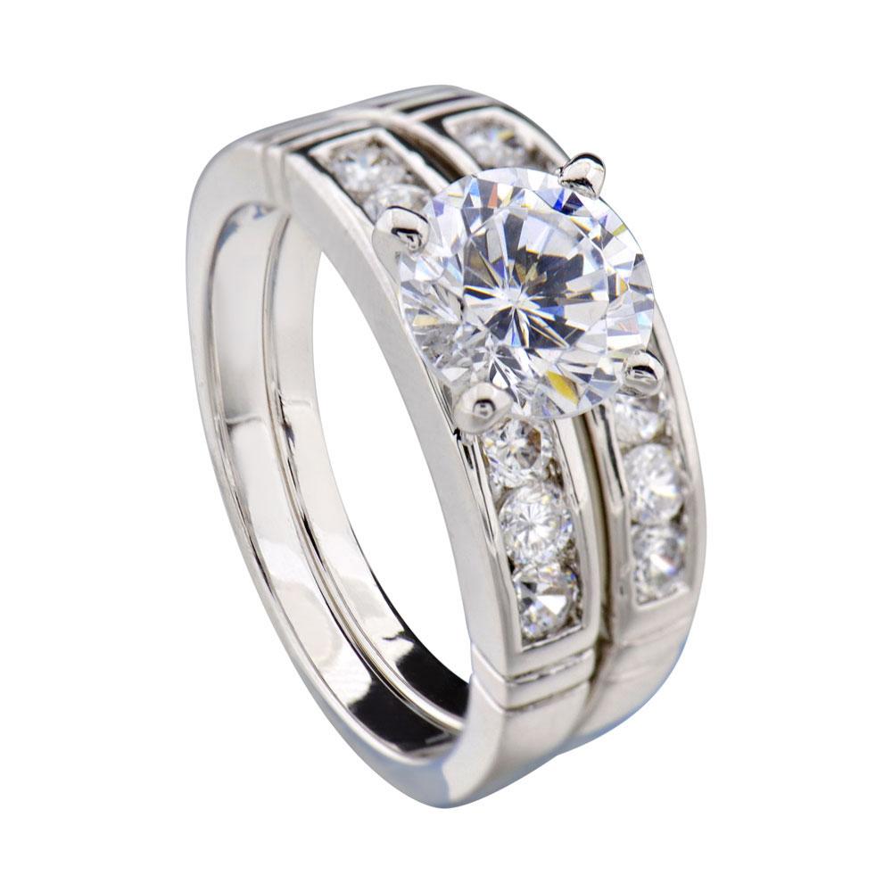 1 9 Carats Round Cubic Zirconia Rhodium EP Bridal Engagement Wedding Ring Set