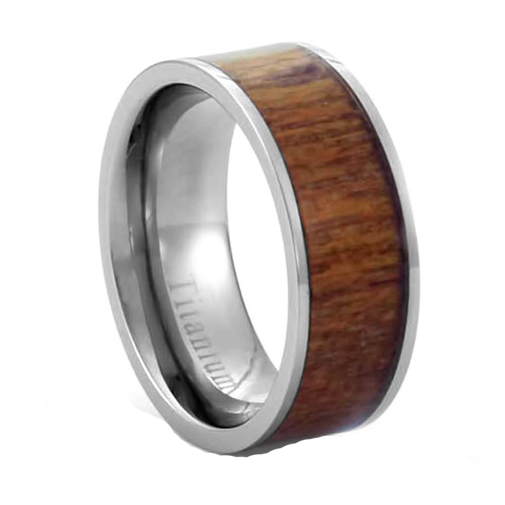 ... eternity light brown redwood inlay titanium band men s wedding ring