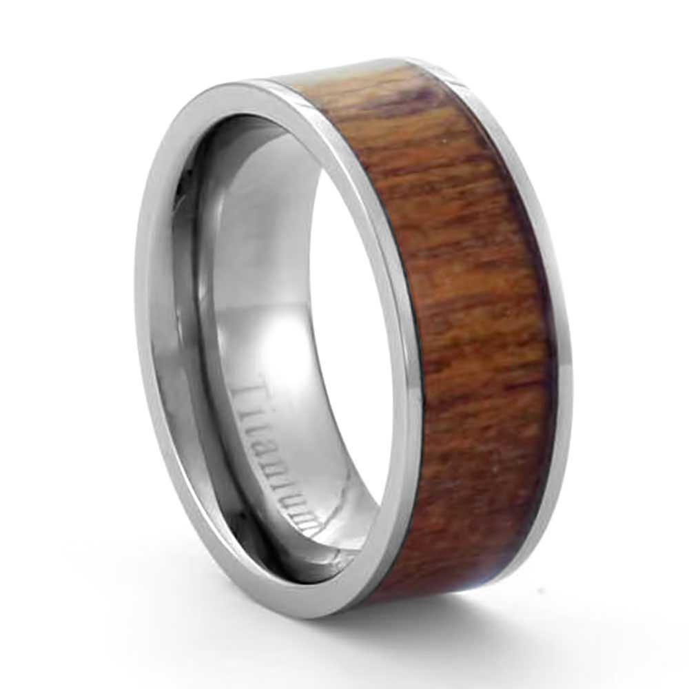 Wood inlay wedding rings