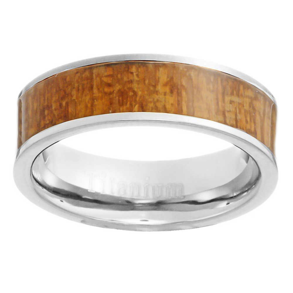 6mm eternity light brown redwood inlay titanium band women for Wedding ring descriptions