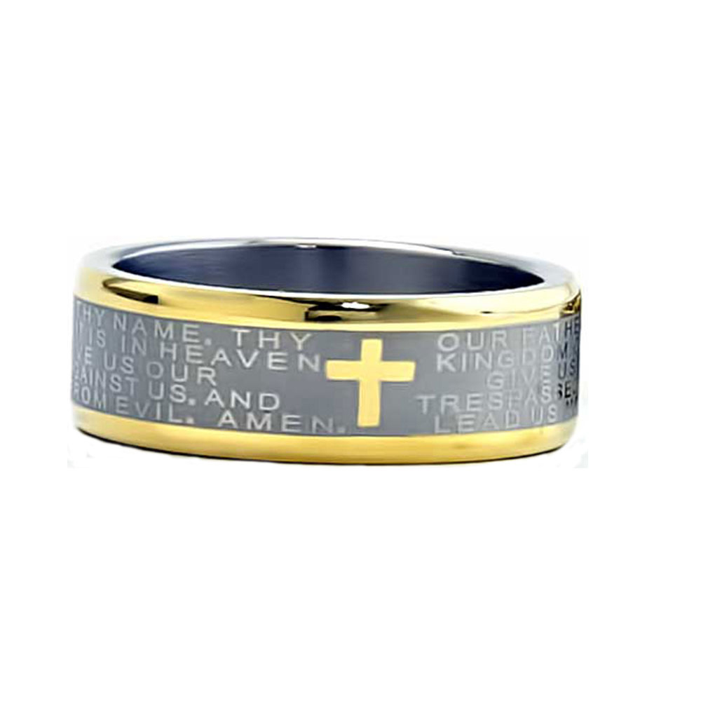 8mm Two Tones Titanium Christian Cross Bible Scroll Etch Mens Wedding Band