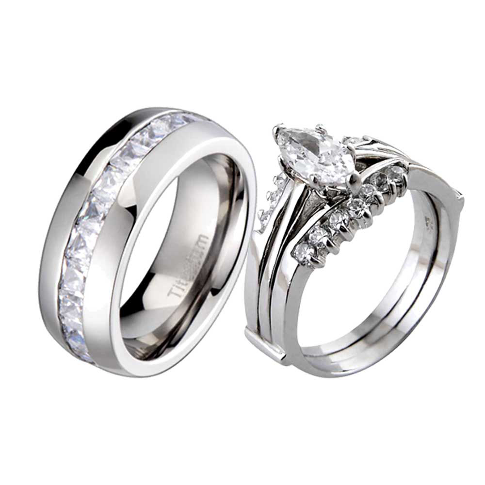 3 Piece Sterling Silver Titanium CZ Cubic Zirconia Womens Wedding Ring Sets