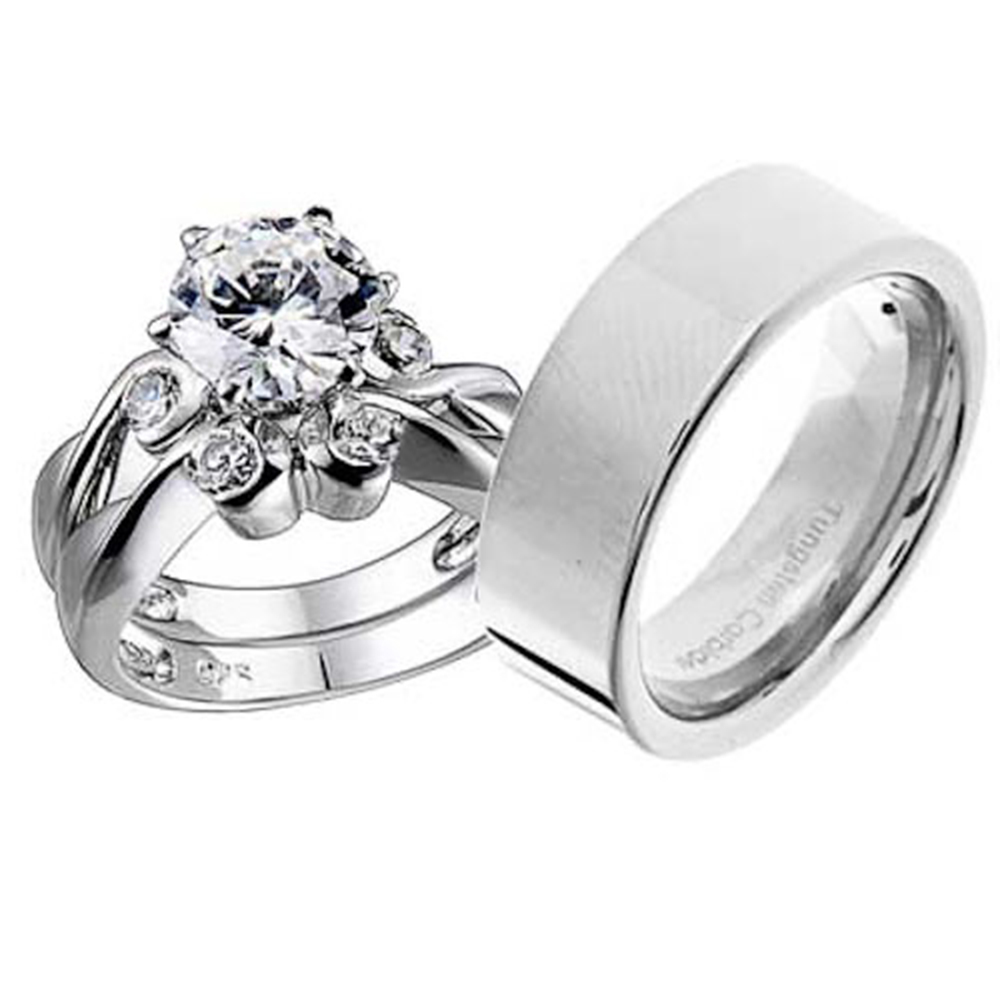 Silver Tungsten Round CZ Engagement Wedding Bridal Ring Sets  eBay