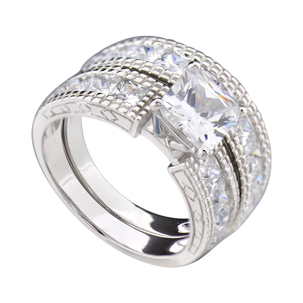 FlameReflection 2 Ct Princess Cubic Zirconia Sterling Silver Estate Style Women's Wedding Set
