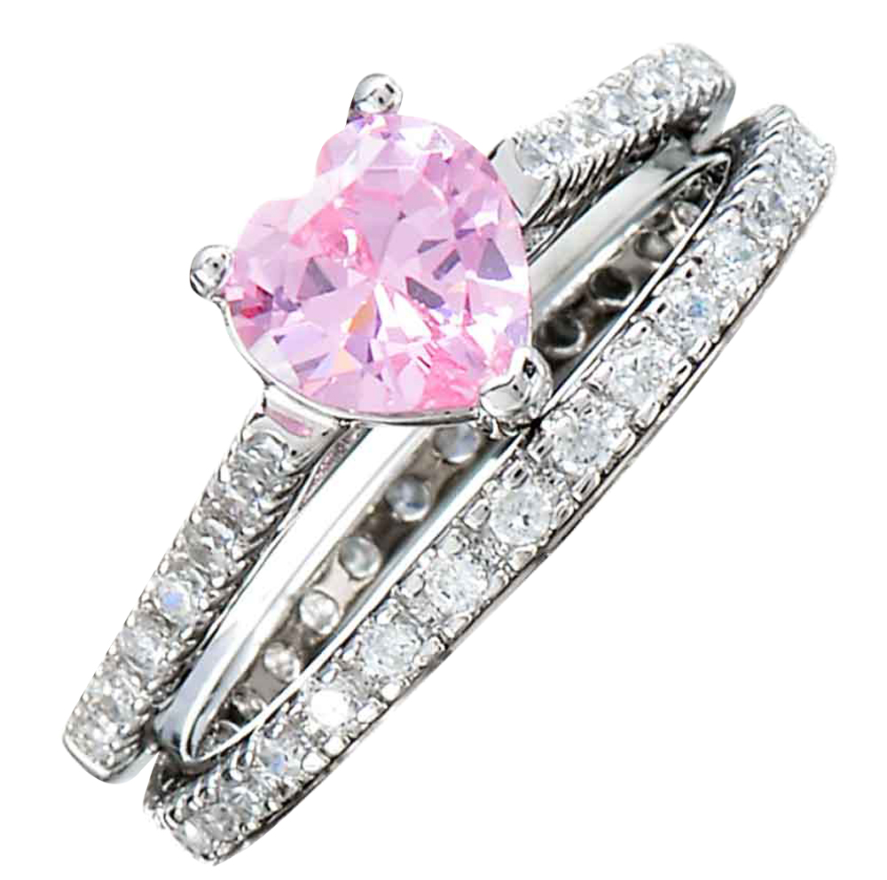 925 Sterling Heart Pink Cubic Zirconia Wedding Ring Set