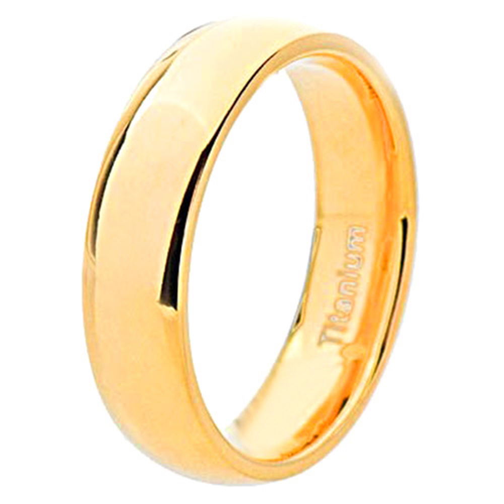 Gold Plated Wedding Rings: 8mm Gold Plated Men's Dome Titanium Wedding Band