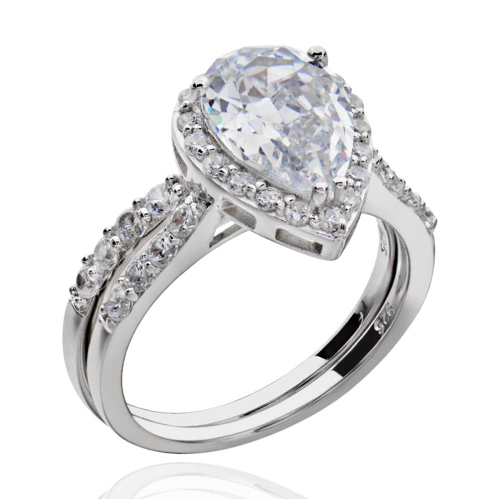 Sterling Silver Pear Shape Cubic Zirconia Engagement Wedding Ring Set