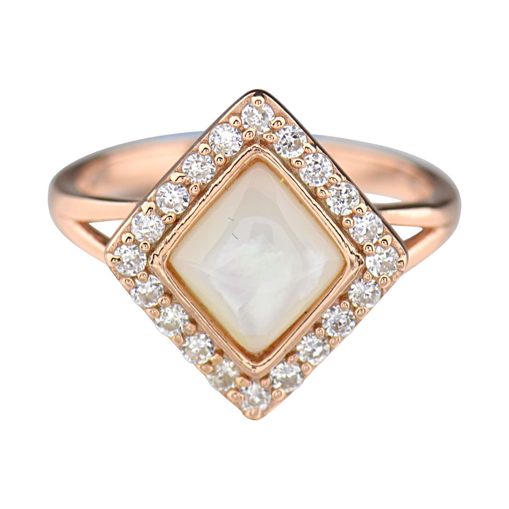 Rose Gold Plate Silver Square Mother of Pearl Halo Women s Engagement Rin