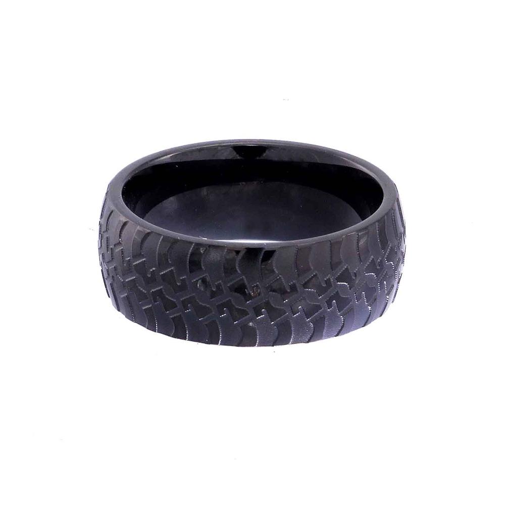 Handmade Flat Polish Black Ring